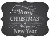 Schoolbord kerstmis achtergrond met elegante tekst — Stockvector
