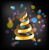 Élégant fond doré de Noël avec arbres et lumières — Vecteur