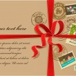 Christmas gift with red ribbon and vintage postage stamps - Imagens vectoriais em stock