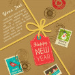 Christmas gift with vintage postage stamps - Image vectorielle