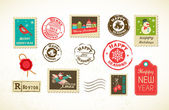 Conjunto de natal de selos antigos — Vetorial Stock