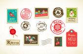 Vintage pulları noel set — Stok Vektör