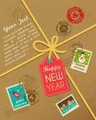 Christmas gift with vintage postage stamps — Stock Vector
