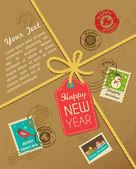 Vintage pulları ile noel hediye — Stok Vektör