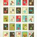 Christmas retro alphabet with cute vector xmas icons — Stock Vector