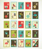 Alfabeto retro navidad con iconos de navidad cute vector — Vector de stock
