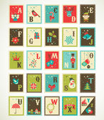 Christmas retro alphabet with cute vector xmas icons — Vector de stock