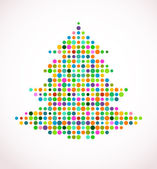 Christmas tree with abstract colorful doted pattern — Stock Vector