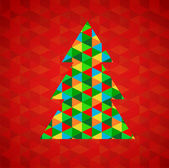 Abstract Christmas tree with red background — Stock Vector