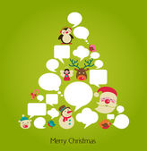 Christmas tree with cute speech bubbles — Vecteur