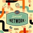 Social network, media and communication in vintage style — Stock vektor