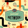 Social network, media and communication in vintage style — 图库矢量图片