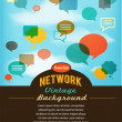 Social network, media and communication in vintage style — Vector de stock