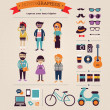 Hipster info graphic concept background with icons - Stok Vektör