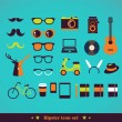 Hipster concept icon set — Stock Vector