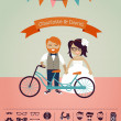 Hipster wedding - design your own invitation card — 图库矢量图片