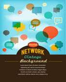 Social network, media and communication in vintage style — Stock Vector
