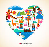 South America love - concept illustration with vector icons — Stock Vector