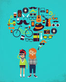 Hipster speech bubble with icons and stylish young couple — Stock Vector