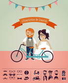Hipster wedding - design your own invitation card — Stock Vector