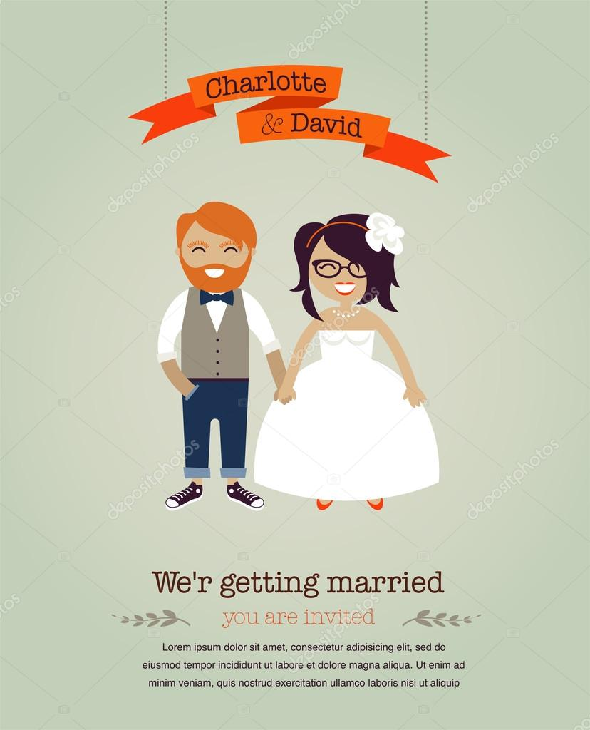 Hipster wedding background card — Stock Vector #19466587