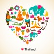 Thailand love - heart with thai icons and symbols - Stock Vector