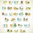 Ecology green alphabet with collection of vector elements - Stock Vector