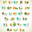 Ecology green alphabet with collection of vector elements — Stock Vector