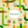 Ecology - Think green background with hands and graphic symbol - Imagen vectorial