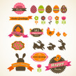 Set of easter vintage elements, banner, labels and frames - Imagens vectoriais em stock