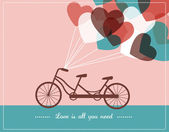 Valentine's card with tandem bicycle — ストックベクタ