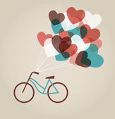 Valentine's card with tandem bicycle — Vector de stock