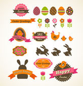 Set of easter vintage elements, banner, labels and frames — Stock Vector