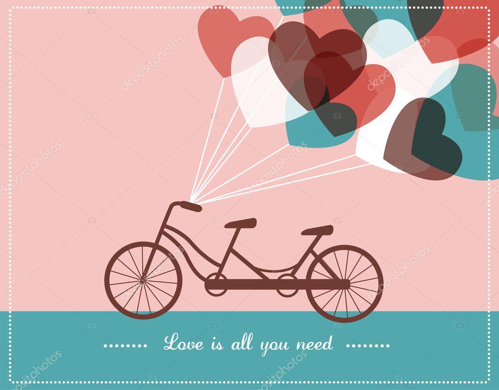 情人节贺卡与双人自行车
