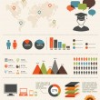 Education infographics set, retro style design - Image vectorielle