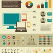 Social network infographics set, retro style design - Vettoriali Stock