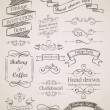 Hand drawn vintage elements - Stok Vektör
