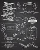 黒板手描きビンテージ ベクトル要素 — ストックベクタ