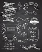 Chalkboard Hand drawn vintage vector elements — Vettoriale Stock