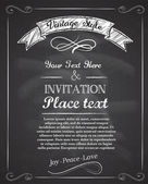 Chalkboard hand drawnvintage invitation — Stockvector