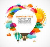 Hete lucht ballonvaren, kleurrijke abstract vector achtergrond — Stockvector