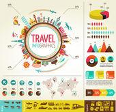 Podróże i turystyka plansza z danych ikony, elementy — Wektor stockowy