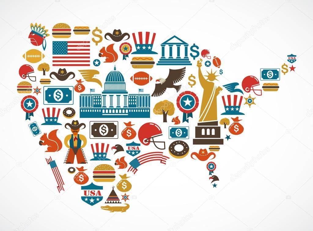 美国地图与许多矢量图标