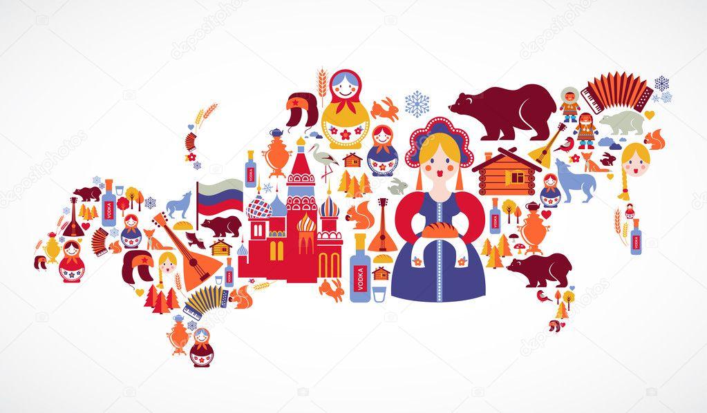 俄罗斯地图与矢量图标