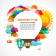Hot air balloon, colorful abstract vector background - Imagen vectorial