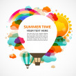 图库矢量图片: Hot air balloon, colorful abstract vector background