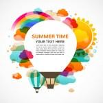 熱い空気バルーン、カラフルな抽象的なベクトルの背景 — ストックベクタ
