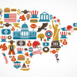 America map with many vector icons — Stock Vector
