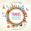 Travel and tourism vector background — Imagen vectorial