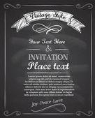 Chalkboard hand drawnvintage invitation — Stock Vector
